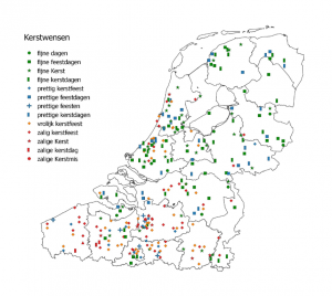 Map showing customary greetings in Belgium and the Netherlands