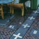 Border between Belgium and the Netherlands, marked on the pavement